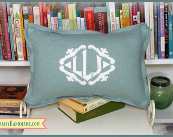 Applique Framed Monogrammed Pillow Cover - Butterfly Flange - Lumbar Sizes