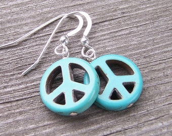 Sale Peace Sign Earrings made of Magnesite and Sterling Silver