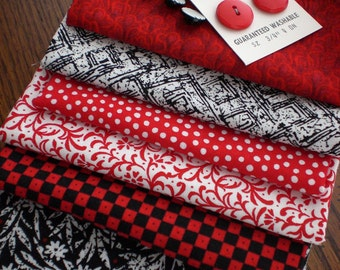 Fabric - Red White and Black Fabric and Button Pack - Number 2 Embellishment Kit