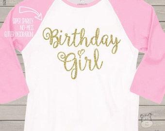 Birthday girl sparkly glitter raglan shirt - fun glitter birthday shirt - you choose glitter color