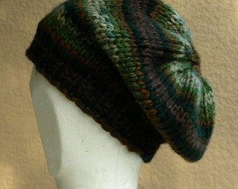Slouch Hat beanie stocking cap or beret in forest green, brown hand knit with a seed stitch ribbing