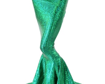 High Waist GREEN Shimmering Fish Scale Metallic Mermaid Skirt with Puddle Train 151557