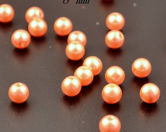 100 aspects Pearl, glass beads collar: orange, 8 mm