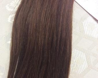 "Dark brown (4)  100% human hair clip in extensions   14""  18""  20"""