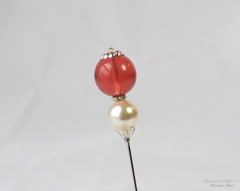 Swarovski Pearl Stick Pin, 3-Inch, Pink Czech and Cream Genuine Swarovski Pearl, 3 Inch, Hat Pin, Lapel Pin, Hijab Pin, H0268