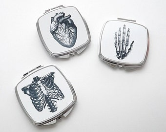 Anatomy Gift COMPACT MIRROR anatomical heart medical for her skeleton graduation science nurse practitioner physician assistant goth grey's