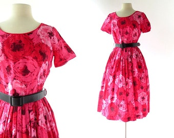 1950s Floral Dress   Pink Ranunculus Dress   50s Dress   S M