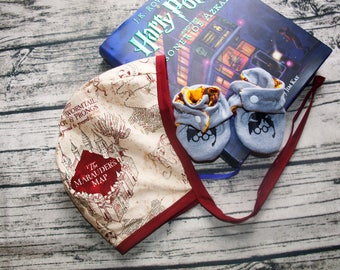 Harry Potter Baby Outfit   Baby Shower Gift   Coming Home Outfit   Marauder's Map   Quidditch   Baby Bonnet   Baby Booties