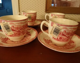 """4 New with Tag Pink Stratford on Avon Kenilworth CASTLE Johnson Bros. """"Castles of Britain"""" Cup and Saucers Sets Wedding Gift  England"""