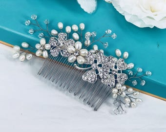 Taylor - Freshwater Pearl and Rhinestone Bridal Comb