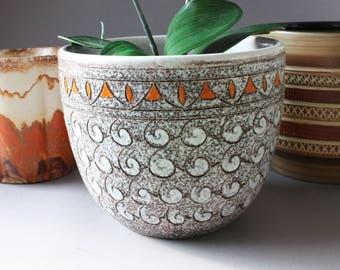 Planter ceramic Italy Boho Bohemian, Vintage flower pot colorful, Hippie flowerpot, gift office girlfriend her sister