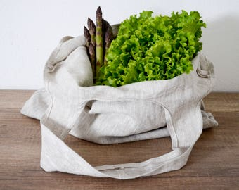 Linen Reusable Shopping Bag, Farmer's Market Bag, Reusable Grocery Bag, Tote Bag, Eco Bag, Gray Linen Bag, Packable Tote bag, Beach Bag