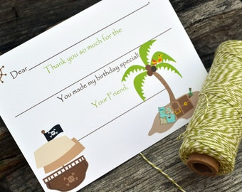 Kids Fill In the Blank Thank You Notes / Kids Thank You Notes / Childrens Thank You Note Cards / Fill In The Blank Pirates Design