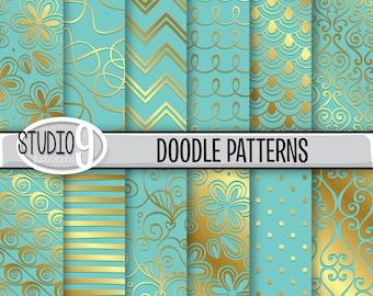 Gold & Teal Digital Paper: DOODLE PATTERNS Printable Pattern Print, 12 x 12 Gold Teal Digital Download, Patterns Backgrounds Scrapbook