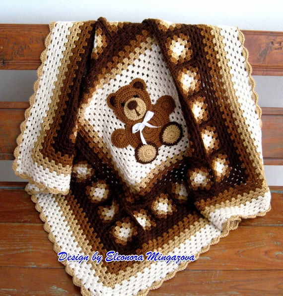 PDF Adorable Crochet Pattern to make your own Crochet Teddy Bear blanket, afghan, throw