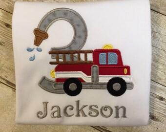 Fire Truck Birthday T-Shirt Fireman Red Firetruck Boy girl child Fire Engine age number Kids Toddler Sibling Pink Firetruck Transportation