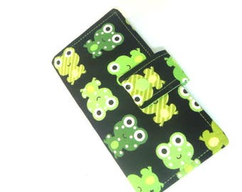 Fabric Checkbook Cover, Holder -  Black with Lime Green Frogs