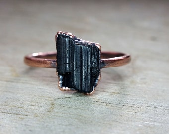 Black Tourmaline Crystal and Copper Electroformed Ring  ||  US Size 8