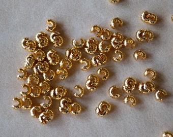 100pcs 3mm Crimp Cover Gold Plated Brass Corrugated Knot Covers Jewelry Findings