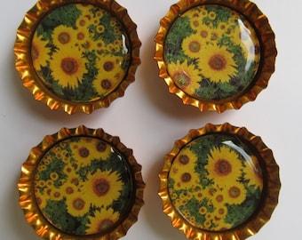 Sunflower Bottlecap Magnets - Set of 4