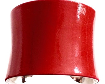 Fire Engine Red Patent Leather Cuff Bracelet - by UNEARTHED