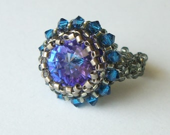 Beaded Swarovski RIVOLI RING in Blue Helio