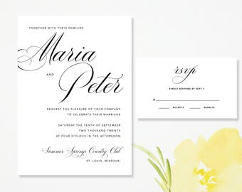 Modern Script Wedding Invitation & RSVP Card