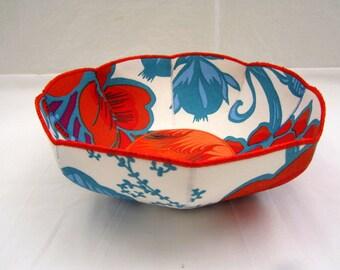 HoJo Marbled fabric bowl orange aqua turquoise