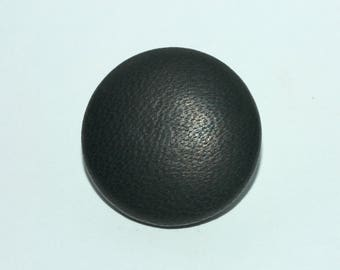 Black Leather Button. Covered Leather Button.