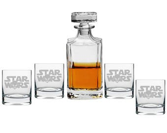 Star Wars Decanter with Engraved Rocks Glasses, Set of 5 - Father's Day Gift - (DC2-RCK10OZ-ASTAR143T)  Birthday Gift