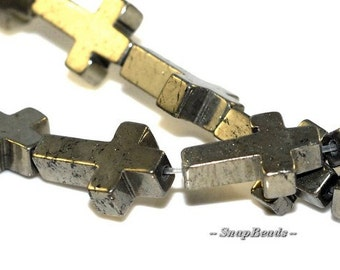 Palazzo Iron Pyrite Gemstones Cross 15X10MM Loose Beads 16 inch Full Strand (90107074-136)