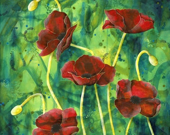 A Dash of Red - Poppy - Poppies - Red - Flower - Floral - Nature - Beauty - Green - Colourful - Still life - Bouquet - Michelle Gilks