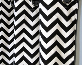 "96"" Black and White Zig Zag Curtains with Grommets - Two Chevron Curtain Panels - 50""x96"" - FREE SHIPPING"
