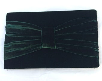 Green Velvet Clutch Purse with Bow Detail