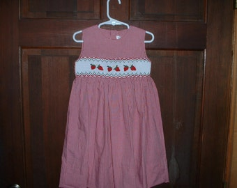 Red Microcheck Hand Smocked Strawberry Dress 2T
