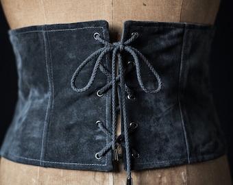 Corset, laced corset, suede corset, corset belt
