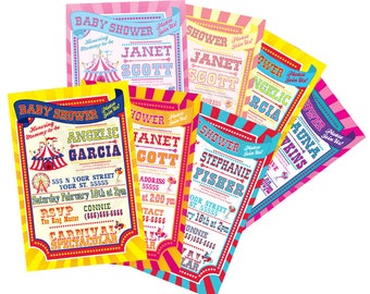 Sweet New Baby Carnival, Baby Shower Invitations