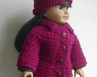 18 Inch Doll Clothes - Berry Red Hat and Sweater Coat with Collar Handmade to fit the American Girl and Other Similar Dolls