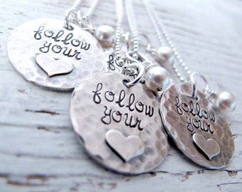 Personalized Sterling Silver Hand Stamped Necklace Follow Your Heart, Love, Believe, Inspirational
