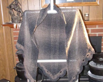 Charcoal & Taupe Handwoven Shawl