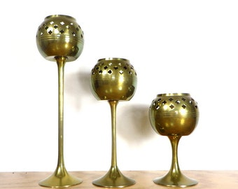 3 Brass Candleholders 1970's Home Decor Boho Chic Three Graduated Candle Stands Moroccan Mediterranean Home Decor