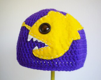 Crochet Angler Fish Hat in Purple - science based crochet hat for men or women - crochet hat for boy or girl