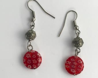 Red Millefiori Glass Pierced Dangle Earrings with Silver Tone Bead
