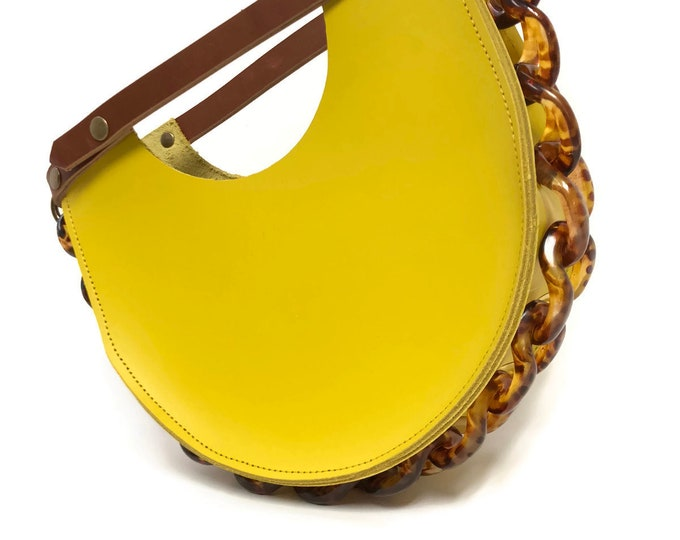 Featured listing image: Mallory Top Handle Circle Tote in Ceylon Yellow