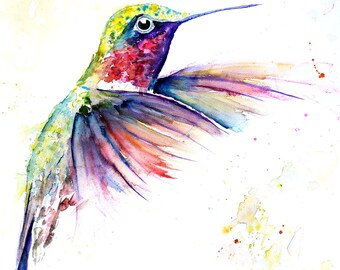 HUMMING BIRD ART - watercolor humming bird painting, humming bird print, bird wall art, humming bird gift, bird art, humming bird decor