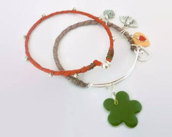 Bangle Set, Bangle Bracelets, Arm Candy Fashion, Silk Wrapped Bangle, Silver Wire Bangles, Bangle Bracelets, Made in USA
