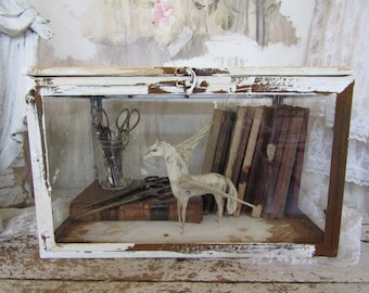 Rusty display case metal w/ glass curiosities showcase French farmhouse distressed white box for collectibles home decor anita spero design