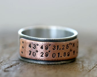 Latitude Longitude Wedding Ring Mixed Metal Band (E0210)