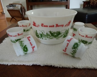 Vtg Hazel Atlas Christmas Holiday Colonial Tom and Jerry Punch Bowl Set