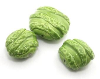 Coin Beads, ceramic beads, porcelain beads, ceramic bead, pottery beads, Bead set, green beads, spring green beads, bright green beads